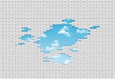 Breakthrough brand new white brick wall. Breakthrough brand new wall made of white brick with the blue sky on the background Vector Illustration