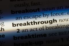 Breakthrough. Word in a dictionary.  concept stock photo