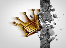 Breakthrough Business Leadership. Breakthrough leadership business concept as a king crown breaking through a cement wall as a success and strong leader metaphor Stock Image