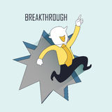 Breakthrough concept. A businessman jumping out from the wall in line style Stock Photography