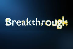 Breakthrough concept. Creative voluminous writing on blue background. 3D Rendering Royalty Free Stock Photos