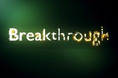 Breakthrough concept. Creative voluminous writing on green background. 3D Rendering Stock Photo