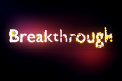 Breakthrough concept. Creative voluminous writing on red background. 3D Rendering Stock Image