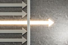 Breakthrough and growth concept. Glowing arrow breaking through wall on concrete background. Breakthrough and growth concept. 3D Rendering royalty free illustration