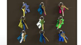 Breakthrough house keys, 3d rendering. Breakthrough house keys, 3d render Stock Photos