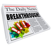 Breakthrough Newspaper Headline Big Announcement Discovery. Breakthrough word on a newspaper headline to announce a big discovery or solution to a problem Royalty Free Stock Image