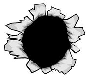 Breakthrough Paper Ripped Hole. A hole torn in the paper or metal background design element Royalty Free Stock Photos