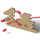 Breakthrough red. Arrow hit a brick wall Royalty Free Stock Photo
