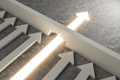 Breakthrough and success concept. Glowing arrow breaking through wall on concrete background. Breakthrough and success concept. 3D Rendering stock illustration