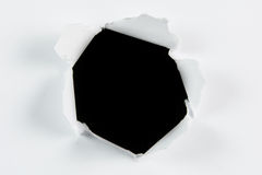 Breakthrough torn big black hole in white paper Stock Photos