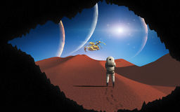 Breakthrough. View of alien world from the breakthrough Stock Photography