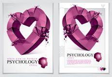 Breakup concept of Broken heart, 3D realistic vector illustratio. N of heart symbol exploding to pieces, flyer or brochure for psychology clinic, consultation Stock Image
