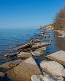 Breakwall Lake Erie Ohio arkivbilder