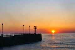 Breakwall at Sunset. A breakwall taken at sunset on the shore of Lake Erie in Northeast Ohio stock images