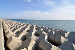 Breakwater. On the beach in Qingdao Royalty Free Stock Images