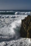 Breakwater. Strong storm on the coast of galicia Stock Images