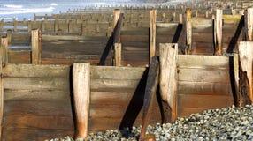 Breakwater. S on stony beach stock photography