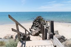 Free Breakwater And Wooden Path Access In Sand Dune Beach In Vendee Noirmoutier Island France Royalty Free Stock Image - 158241176
