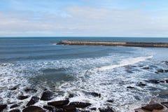 Breakwater atAtlantic coast, Ericeira, Portugal. Royalty Free Stock Photography