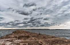 Breakwater in Baltic Sea, Latvia. Royalty Free Stock Images