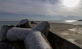 Sea breakwater. A breakwater on the Black Sea coast in winter stock images
