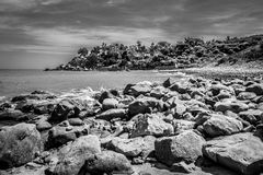 Breakwater in Black and White Stock Image