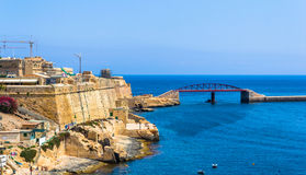 Breakwater Bridge. Beside the old grand harbour of Valletta Royalty Free Stock Photos