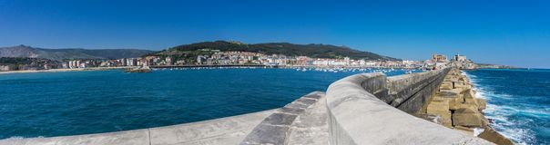 Breakwater Castro Urdiales panorama Stock Photo