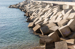 Breakwater cement blocks Royalty Free Stock Photos