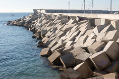 Breakwater cement blocks Stock Photo