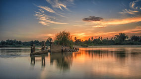 Breakwater Chao pranya. Evening in Thailand Royalty Free Stock Photography