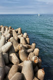 Breakwater Concrete Blocks in the Sea Stock Photography