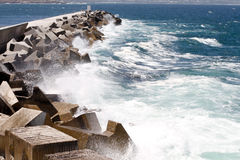 Breakwater concrete structures Royalty Free Stock Photo