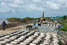 Breakwater construction site Royalty Free Stock Photo