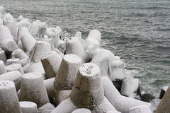 Breakwater covered by ice Royalty Free Stock Image