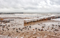 Breakwater covered by ice Royalty Free Stock Photo