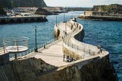Breakwater. In the cudillero port, asturias, Spain royalty free stock images