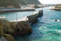 Breakwater. In the cudillero port, asturias, Spain stock image