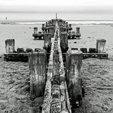 Breakwater Horizon 3 - Norfolk UK. A breakwater structure reaching out into the North Sea - Norfolk UK Royalty Free Stock Images