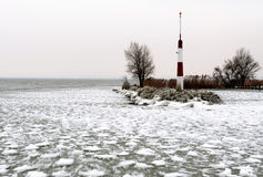 Breakwater at Lake Balaton in winter time, Hungary Royalty Free Stock Photo