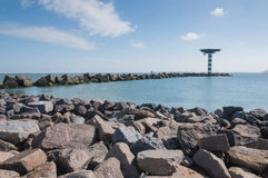Breakwater of large concrete blocks Royalty Free Stock Image
