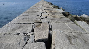 Breakwater Lighthouse. The Breakwater Lighthouse in Rockland, Maine that is located at the end of a walk-able path laid on top of the breakwater Royalty Free Stock Photos