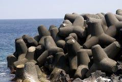 Breakwater, Miyake Island, Japan Stock Photo
