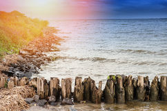 The breakwater in the ocean. Royalty Free Stock Photos