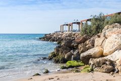 Breakwater overlooking the sea with a promenade terrace on the waterfront  of Nahariya city in Israel. Breakwater overlooking the sea with a promenade terrace on Stock Photos