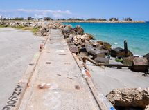 Breakwater Perspective on the Indian Ocean: Fremantle, Western Australia Stock Photo