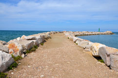 A breakwater in Peschici Royalty Free Stock Photography