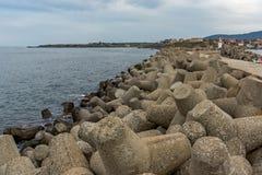 Breakwater on the port of town of Tsarevo, Bulgaria Royalty Free Stock Photo