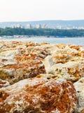 Breakwater protecting the coastline of Black Sea, Bulgaria Royalty Free Stock Photography