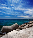 Breakwater in the Puerto Banus in Marbella, Spain Royalty Free Stock Photography